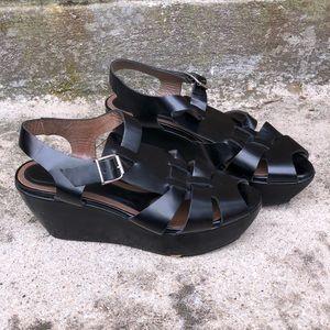 Marni Black Platform Wedge Heeled Sandals